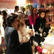 Drew Barrymore and Darcy Miller at an event at Dear Drew