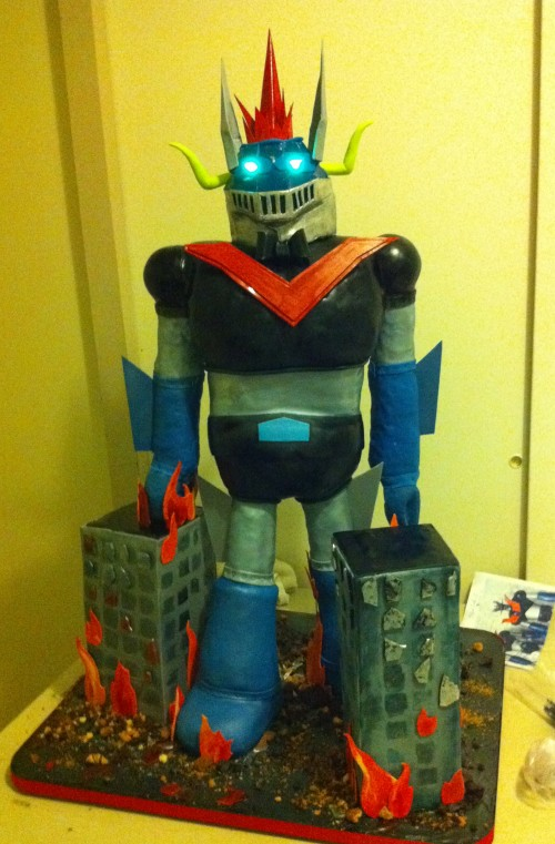 Tranzor Z Robot Cake Fully Assembled Backstage at the Venue