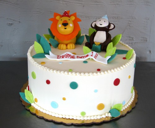 Lion and Monkey Birthday Cake from Whipped Bakeshop