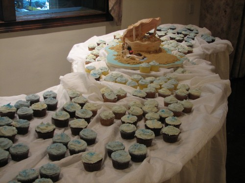 Seashell Wedding Cake and Cupcakes by Whipped Bakeshop