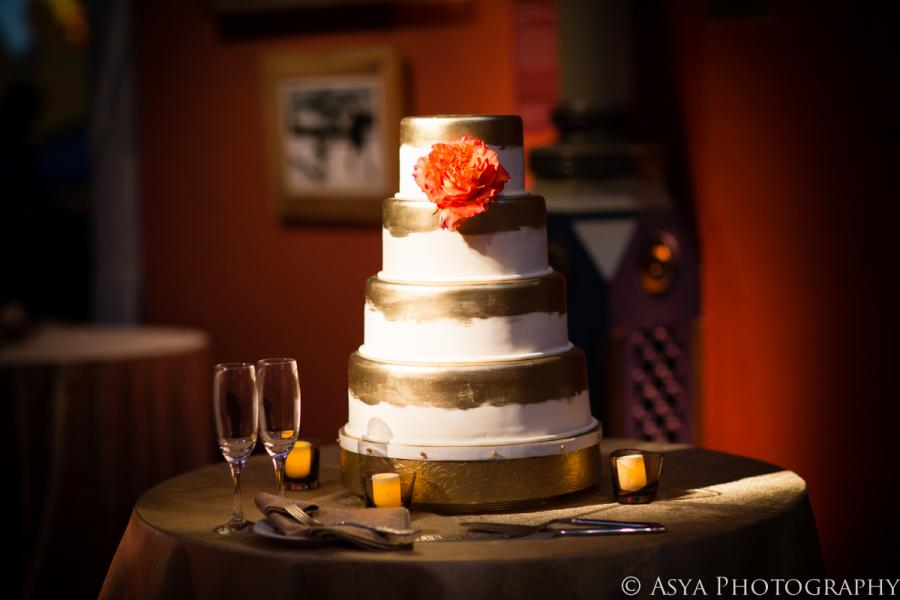 Gold-Painted Wedding Cake by Whipped Bakeshop