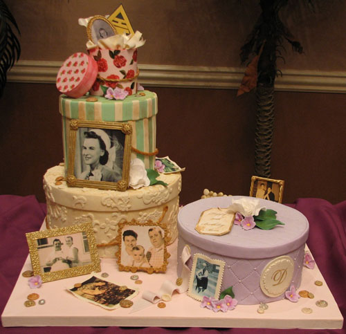 Hatbox Full of Memories Cake for 80th Birthday Surprise