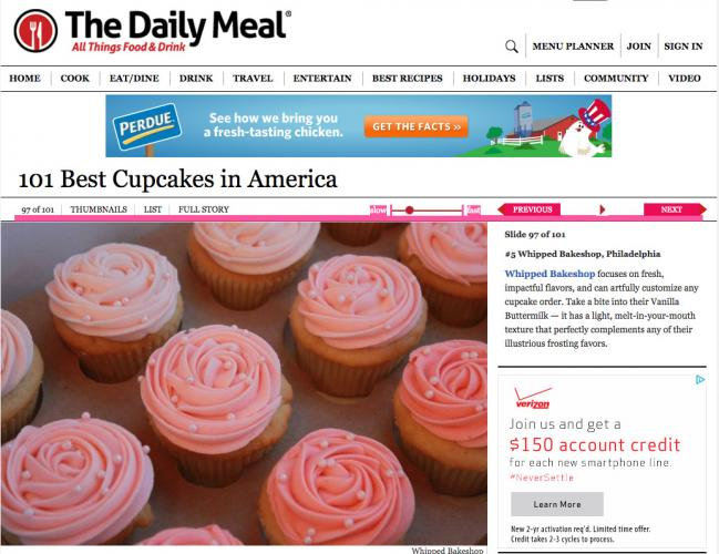 Whipped Bakeshop vanilla cupcakes named 5th best in America.