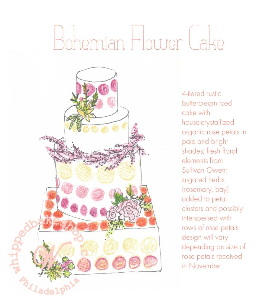 Candied Rose Wedding Cake Sketch by Whipped Bakeshop
