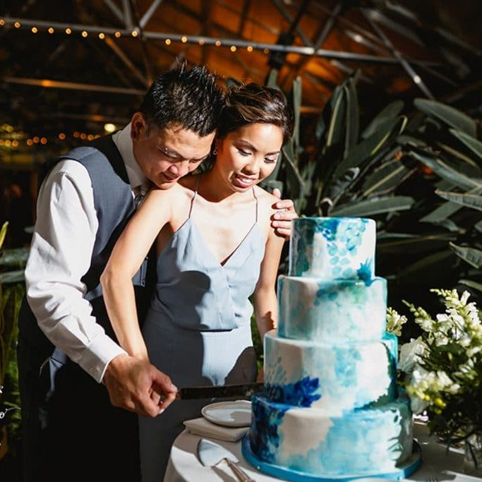 Bride and groom slicing the cake.