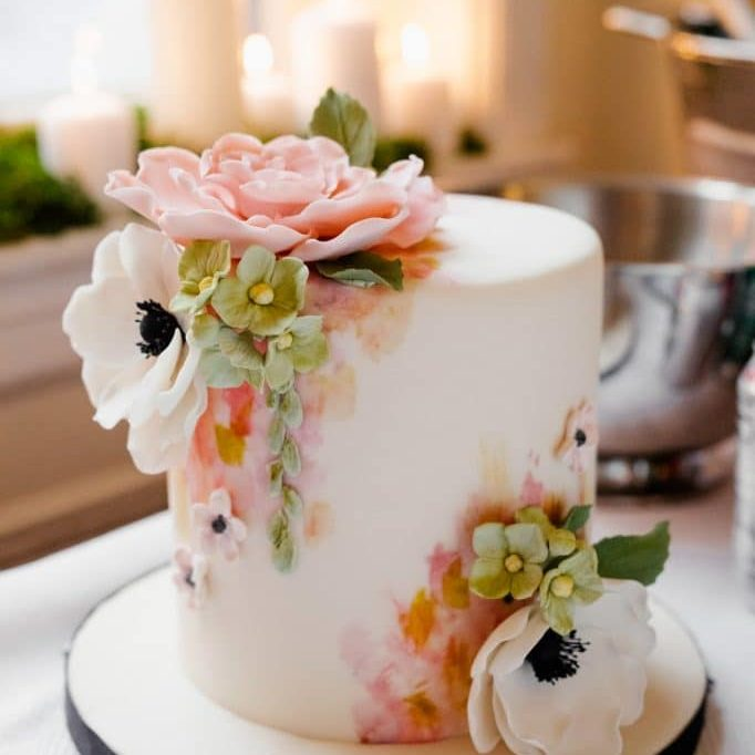 painted flower cake whipped bakeshop