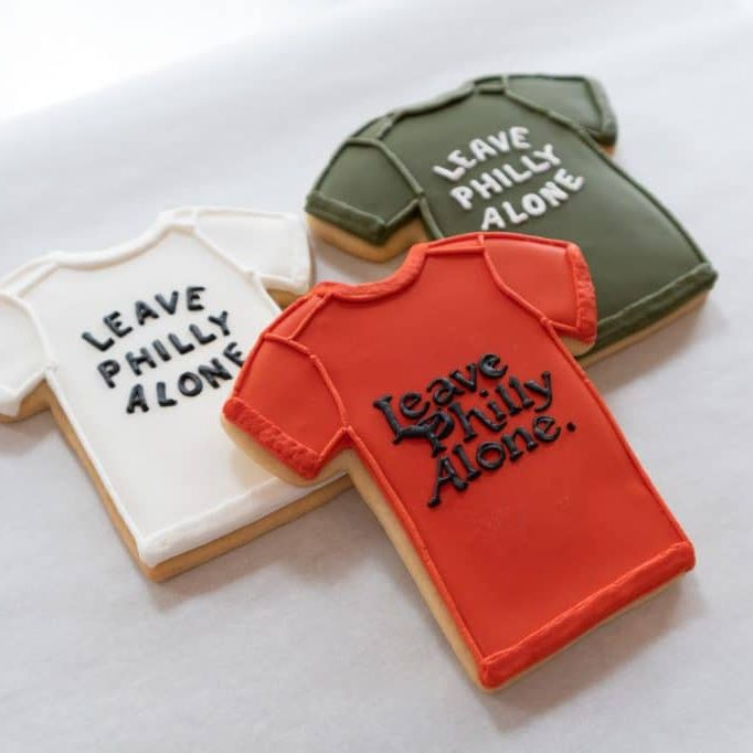 3 Leave Philly Alone Shirt cookies by whipped bakeshop